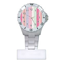 Heart Love Valentine Polka Dot Pink Blue Grey Purple Red Plastic Nurses Watch by Mariart