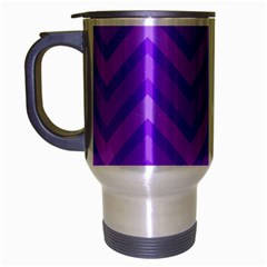 Zig Zags Pattern Travel Mug (silver Gray) by Valentinaart