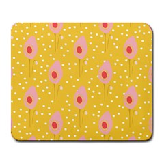 Flower Floral Tulip Leaf Pink Yellow Polka Sot Spot Large Mousepads by Mariart