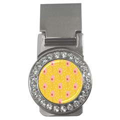 Flower Floral Tulip Leaf Pink Yellow Polka Sot Spot Money Clips (cz)  by Mariart