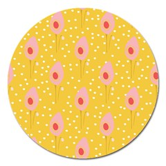 Flower Floral Tulip Leaf Pink Yellow Polka Sot Spot Magnet 5  (round) by Mariart