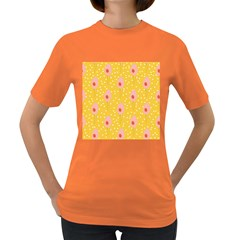 Flower Floral Tulip Leaf Pink Yellow Polka Sot Spot Women s Dark T Shirt by Mariart