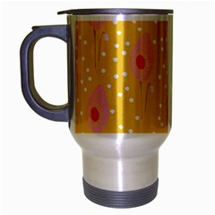 Flower Floral Tulip Leaf Pink Yellow Polka Sot Spot Travel Mug (silver Gray) by Mariart