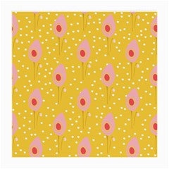 Flower Floral Tulip Leaf Pink Yellow Polka Sot Spot Medium Glasses Cloth (2 Side) by Mariart