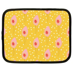 Flower Floral Tulip Leaf Pink Yellow Polka Sot Spot Netbook Case (xl)  by Mariart