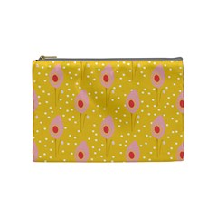 Flower Floral Tulip Leaf Pink Yellow Polka Sot Spot Cosmetic Bag (medium)  by Mariart