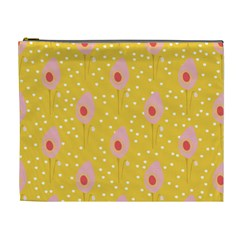 Flower Floral Tulip Leaf Pink Yellow Polka Sot Spot Cosmetic Bag (xl) by Mariart