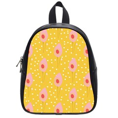 Flower Floral Tulip Leaf Pink Yellow Polka Sot Spot School Bags (small)  by Mariart