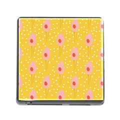 Flower Floral Tulip Leaf Pink Yellow Polka Sot Spot Memory Card Reader (square) by Mariart