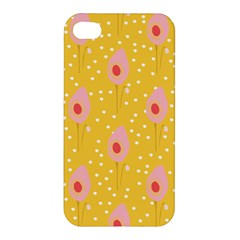 Flower Floral Tulip Leaf Pink Yellow Polka Sot Spot Apple Iphone 4/4s Premium Hardshell Case by Mariart