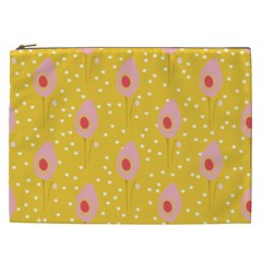 Flower Floral Tulip Leaf Pink Yellow Polka Sot Spot Cosmetic Bag (xxl)  by Mariart