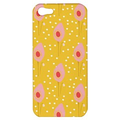 Flower Floral Tulip Leaf Pink Yellow Polka Sot Spot Apple Iphone 5 Hardshell Case by Mariart