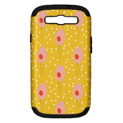 Flower Floral Tulip Leaf Pink Yellow Polka Sot Spot Samsung Galaxy S Iii Hardshell Case (pc+silicone)