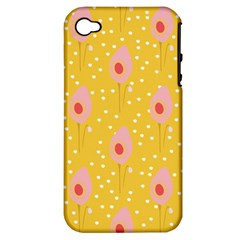 Flower Floral Tulip Leaf Pink Yellow Polka Sot Spot Apple Iphone 4/4s Hardshell Case (pc+silicone) by Mariart