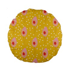 Flower Floral Tulip Leaf Pink Yellow Polka Sot Spot Standard 15  Premium Round Cushions by Mariart
