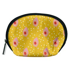 Flower Floral Tulip Leaf Pink Yellow Polka Sot Spot Accessory Pouches (medium)  by Mariart