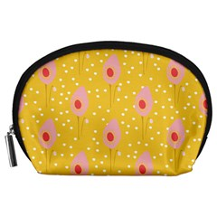 Flower Floral Tulip Leaf Pink Yellow Polka Sot Spot Accessory Pouches (large)  by Mariart