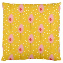 Flower Floral Tulip Leaf Pink Yellow Polka Sot Spot Large Flano Cushion Case (two Sides) by Mariart