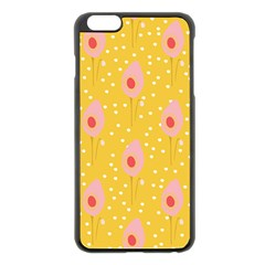 Flower Floral Tulip Leaf Pink Yellow Polka Sot Spot Apple Iphone 6 Plus/6s Plus Black Enamel Case by Mariart