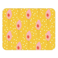 Flower Floral Tulip Leaf Pink Yellow Polka Sot Spot Double Sided Flano Blanket (large)  by Mariart