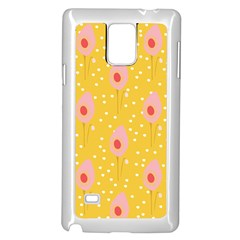 Flower Floral Tulip Leaf Pink Yellow Polka Sot Spot Samsung Galaxy Note 4 Case (white)