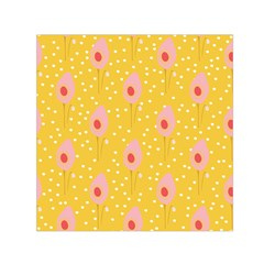 Flower Floral Tulip Leaf Pink Yellow Polka Sot Spot Small Satin Scarf (square) by Mariart