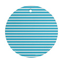 Horizontal Stripes Blue Ornament (round)