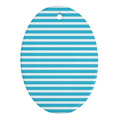 Horizontal Stripes Blue Ornament (oval) by Mariart