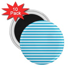 Horizontal Stripes Blue 2 25  Magnets (10 Pack)  by Mariart