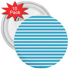Horizontal Stripes Blue 3  Buttons (10 Pack)  by Mariart