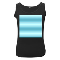 Horizontal Stripes Blue Women s Black Tank Top by Mariart