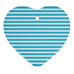 Horizontal Stripes Blue Heart Ornament (two Sides) by Mariart