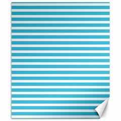 Horizontal Stripes Blue Canvas 8  X 10  by Mariart
