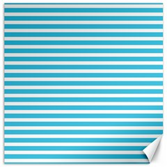 Horizontal Stripes Blue Canvas 12  X 12   by Mariart
