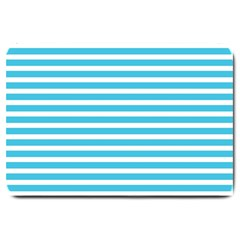 Horizontal Stripes Blue Large Doormat  by Mariart