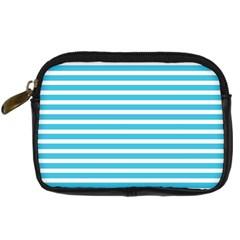 Horizontal Stripes Blue Digital Camera Cases by Mariart