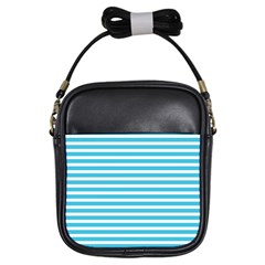 Horizontal Stripes Blue Girls Sling Bags by Mariart
