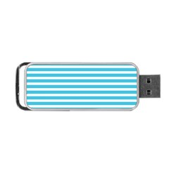 Horizontal Stripes Blue Portable Usb Flash (two Sides) by Mariart