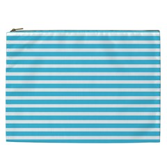 Horizontal Stripes Blue Cosmetic Bag (xxl)  by Mariart