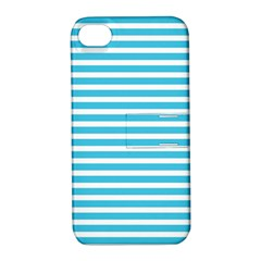 Horizontal Stripes Blue Apple Iphone 4/4s Hardshell Case With Stand by Mariart
