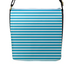 Horizontal Stripes Blue Flap Messenger Bag (l)  by Mariart