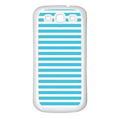Horizontal Stripes Blue Samsung Galaxy S3 Back Case (white) by Mariart