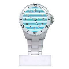 Horizontal Stripes Blue Plastic Nurses Watch