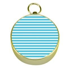 Horizontal Stripes Blue Gold Compasses by Mariart