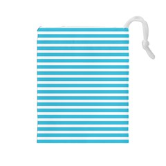 Horizontal Stripes Blue Drawstring Pouches (large)  by Mariart
