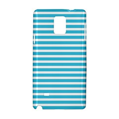 Horizontal Stripes Blue Samsung Galaxy Note 4 Hardshell Case by Mariart