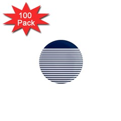 Horizontal Stripes Blue White Line 1  Mini Magnets (100 Pack)  by Mariart