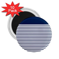 Horizontal Stripes Blue White Line 2 25  Magnets (10 Pack)  by Mariart