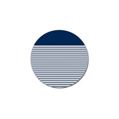 Horizontal Stripes Blue White Line Golf Ball Marker by Mariart