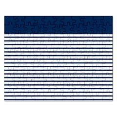 Horizontal Stripes Blue White Line Rectangular Jigsaw Puzzl by Mariart